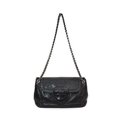 sliver chain flap bag black
